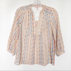 Skies Are Blue shirt boho leaves 3/4 sleeves lace